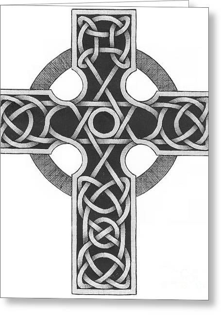 Religious ist Mixed Media Greeting Cards - Celtic Cross Greeting Card by Chris Tetreault