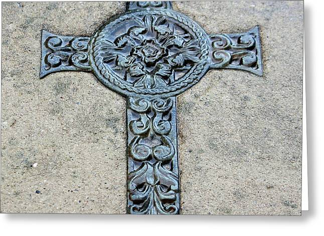 Metal Sculpture Greeting Cards - Celtic Cross III Greeting Card by Suzanne Gaff