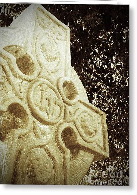 Symbol Of Wisdom Greeting Cards - Celtic Cross Greeting Card by Kelly Holm
