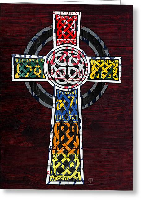 Mosaic Mixed Media Greeting Cards - Celtic Cross License Plate Art Recycled Mosaic on Wood Board Greeting Card by Design Turnpike