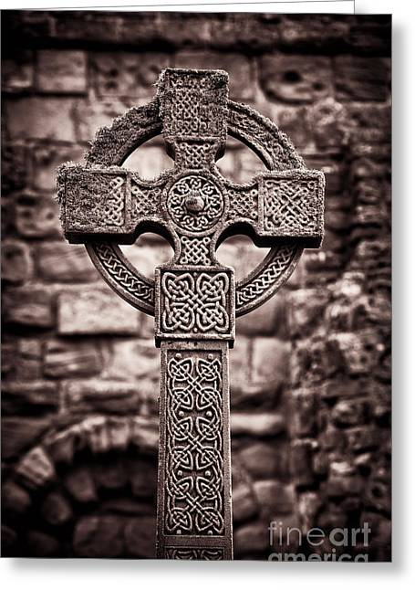 Celtic Knotwork Greeting Cards - Celtic Cross Lindisfarne Priory Greeting Card by Tim Gainey