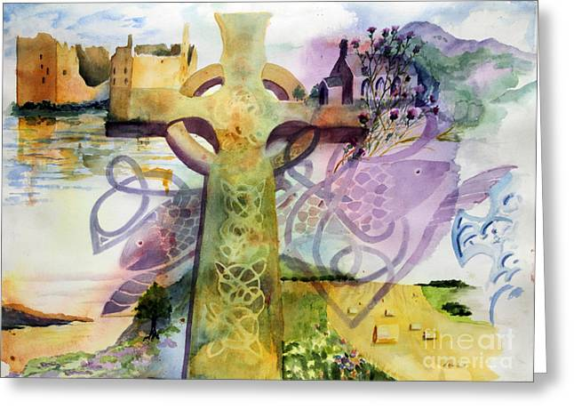 Celtic Paintings Greeting Cards - Celtic Cross Greeting Card by Maria Hunt