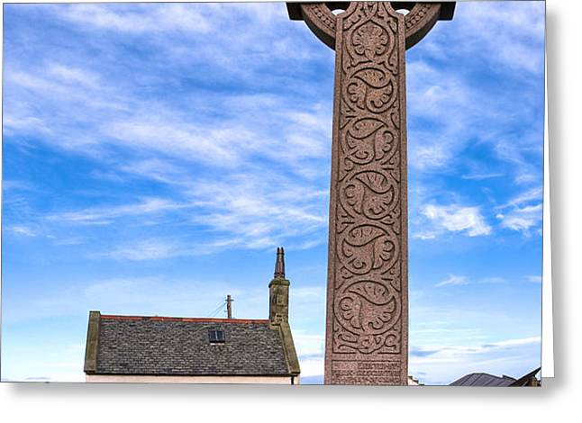 Celtic Cross On The Scottish Coast At North Berwick Greeting Card by Mark Tisdale
