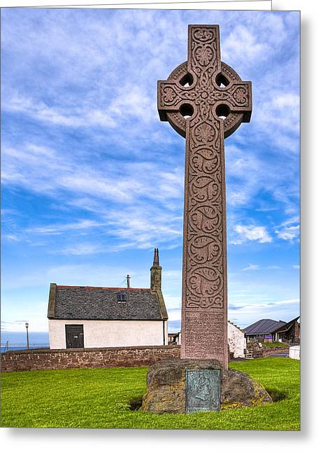 Britain Greeting Cards - Celtic Cross On The Scottish Coast At North Berwick Greeting Card by Mark E Tisdale