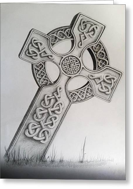 Camelot Drawings Greeting Cards - Celtic Cross Greeting Card by Sean Afford