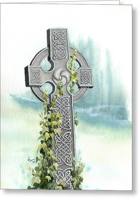 Sympathy Paintings Greeting Cards - Celtic Cross with Ivy II Greeting Card by Lynn Quinn