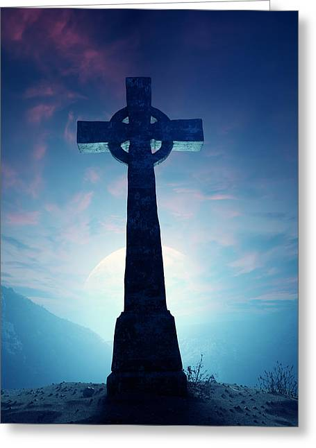 Misty Greeting Cards - Celtic Cross with moon Greeting Card by Johan Swanepoel