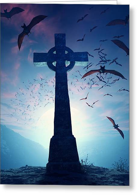 Grave Greeting Cards - Celtic Cross with swarm of bats Greeting Card by Johan Swanepoel