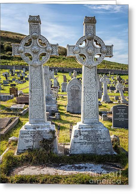 Cemetary Greeting Cards - Celtic Crosses Greeting Card by Adrian Evans