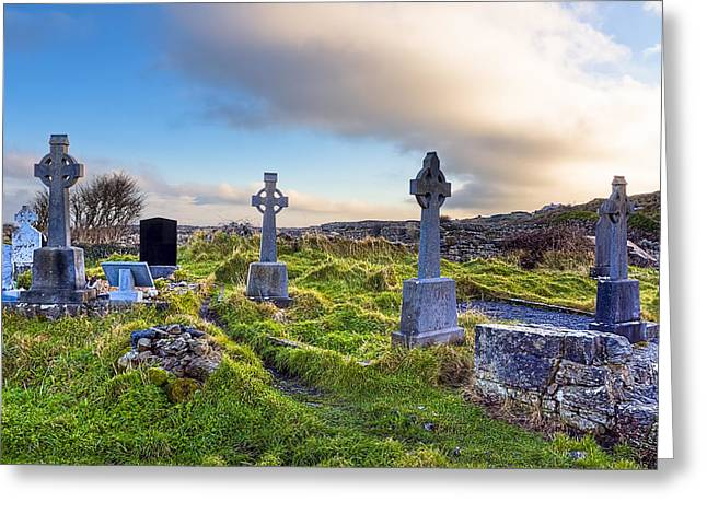 Galway Bay Greeting Cards - Celtic Crosses in an Old Irish Cemetery Greeting Card by Mark Tisdale