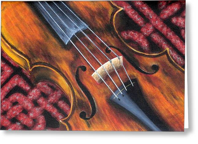 Scottish Folk Music Greeting Cards - Celtic Fiddle Study No. 6 Greeting Card by Jan Clizer