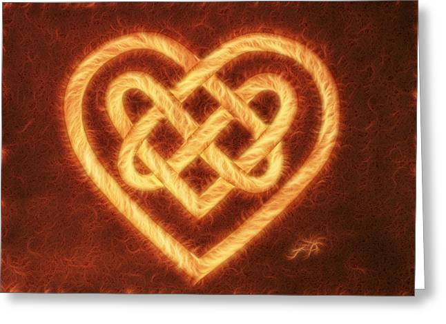 Celtic Paintings Greeting Cards - Celtic Heart Knot digital coffee Greeting Card by Georgeta Blanaru