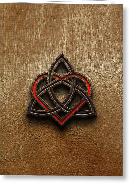 Polish Culture Digital Greeting Cards - Celtic Knotwork Valentine Heart Wood Texture 1 Greeting Card by Brian Carson