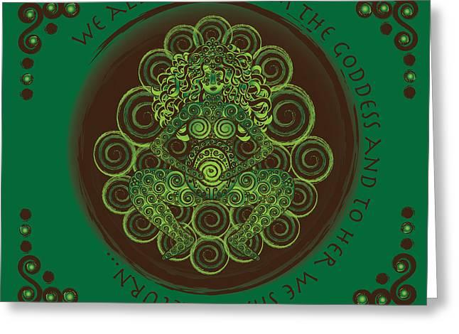 Goddess Birth Art Greeting Cards - Celtic Pagan Fertility Goddess Greeting Card by Celtic Artist Angela Dawn MacKay