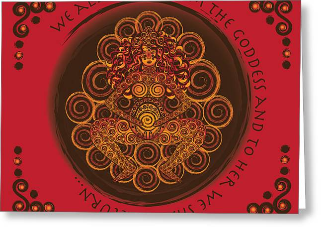 Celtic Art Greeting Cards - Celtic Pagan Fertility Goddess in Red Greeting Card by Celtic Artist Angela Dawn MacKay