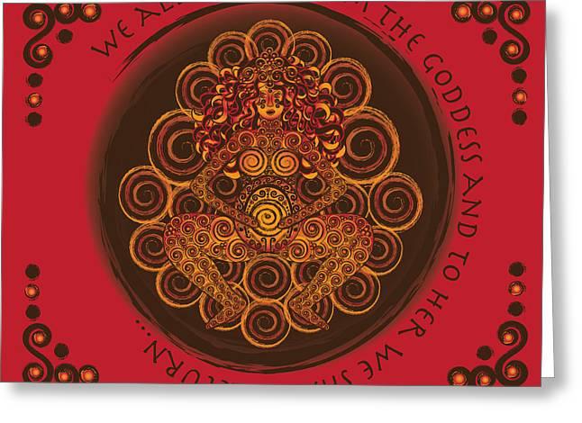 Goddess Birth Art Greeting Cards - Celtic Pagan Fertility Goddess in Red Greeting Card by Celtic Artist Angela Dawn MacKay