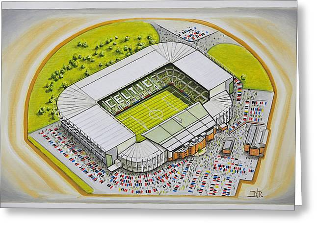 Soccer Greeting Cards Greeting Cards - Celtic Park - Celtic Greeting Card by D J Rogers
