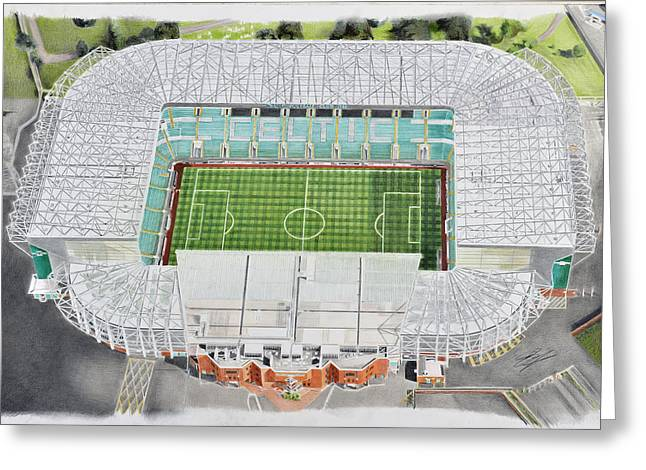 League Paintings Greeting Cards - Celtic Park Stadia Art - Celtic FC Greeting Card by Brian Casey