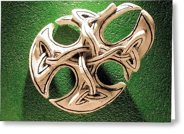 Outsider Art Sculptures Greeting Cards - Celtic Pop Art Green Greeting Card by Flow Fitzgerald