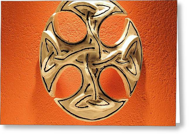 Outsider Art Sculptures Greeting Cards - Celtic Pop Art Orange Greeting Card by Flow Fitzgerald