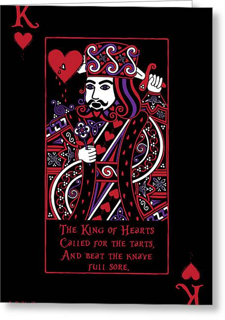 Celtic Art Greeting Cards - Celtic Queen of Hearts Part III The King of Hearts Greeting Card by Celtic Artist Angela Dawn MacKay