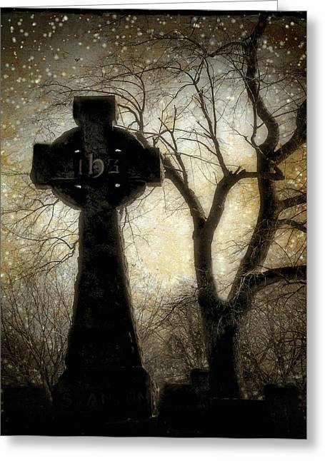 Gothic Trees Greeting Cards - Celtic Snow Falling Greeting Card by Gothicolors Donna Snyder