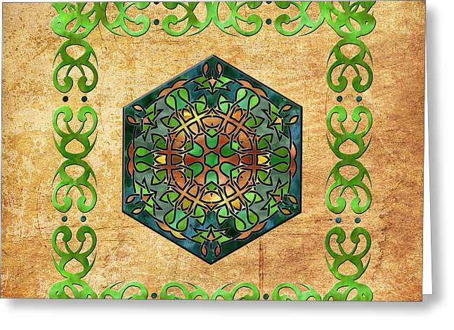 Stained Glass Ireland Greeting Cards - Celtic Stained Glass Diamond Greeting Card by Kandy Hurley