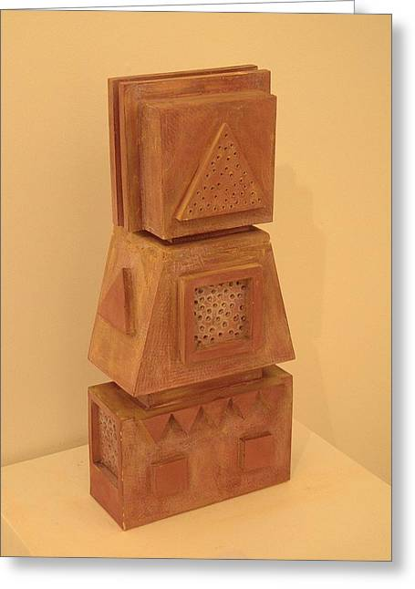 Geometric Sculptures Greeting Cards - Celtic totem. 2000 Greeting Card by Peter-hugo Mcclure