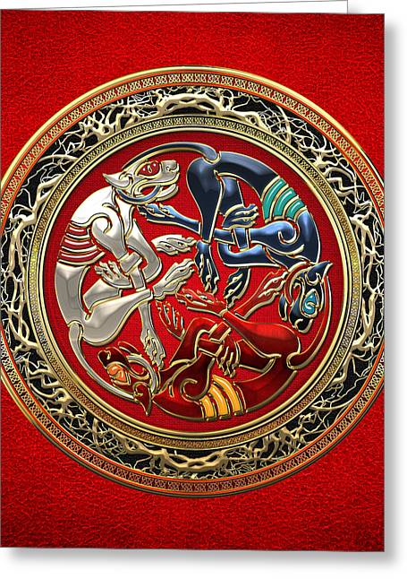 Celtic Treasures - Three Dogs On Gold And Red Leather Greeting Card by Serge Averbukh