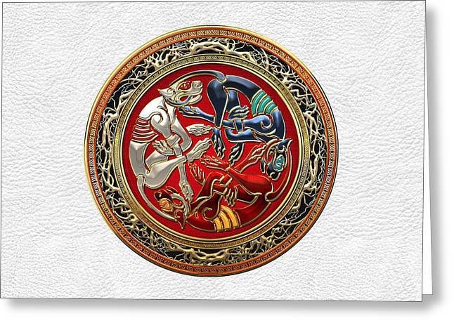Treasure Trove Greeting Cards - Celtic Treasures - Three Dogs on Gold and White Leather Greeting Card by Serge Averbukh
