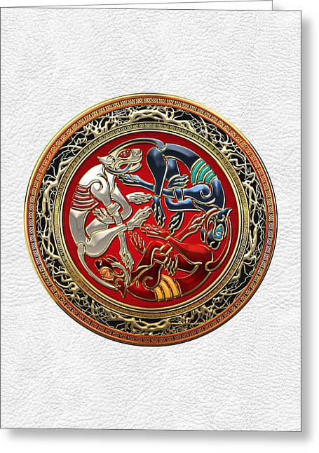Celtic Treasures - Three Dogs On Gold And White Leather Greeting Card by Serge Averbukh