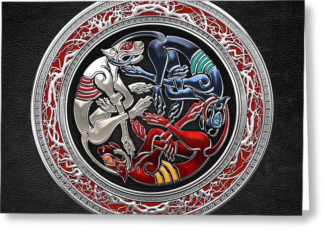 Treasure Trove Greeting Cards - Celtic Treasures - Three Dogs on Silver and Black Leather Greeting Card by Serge Averbukh
