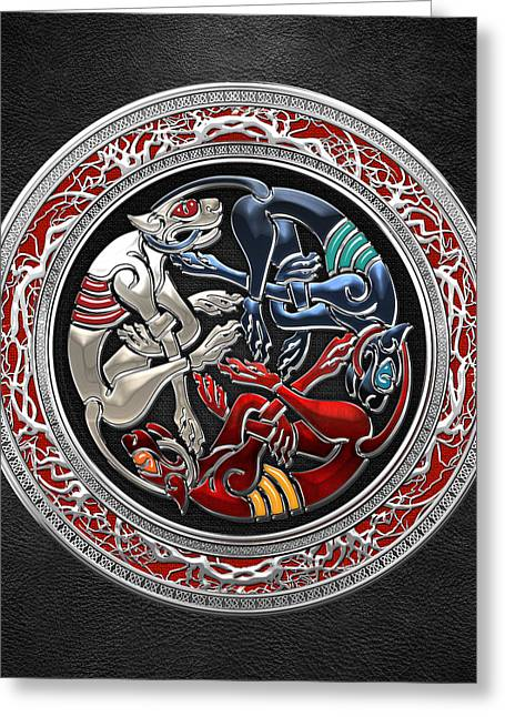 Celtic Treasures - Three Dogs On Silver And Black Leather Greeting Card by Serge Averbukh