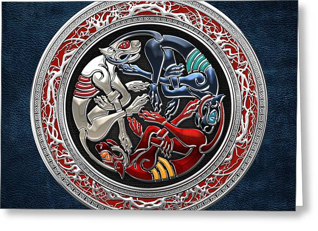 Treasure Trove Greeting Cards - Celtic Treasures - Three Dogs on Silver and Blue Leather Greeting Card by Serge Averbukh