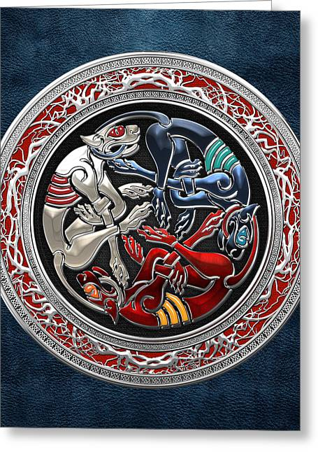 Celtic Treasures - Three Dogs On Silver And Blue Leather Greeting Card by Serge Averbukh