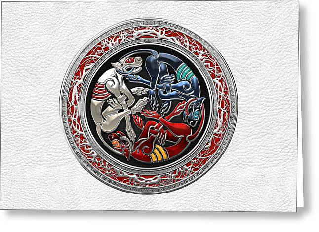 Celtic Treasures - Three Dogs On Silver And White Leather Greeting Card by Serge Averbukh