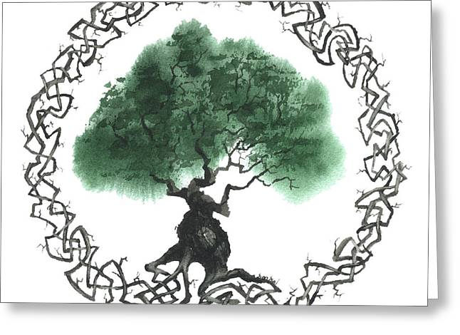 Celtic Paintings Greeting Cards - Celtic Tree Of Life 2 Greeting Card by Sean Seal