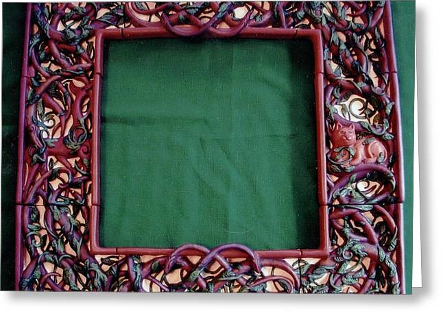 Ceramic Ceramics Greeting Cards - Celtic Tree of Life Frame Greeting Card by Charles Lucas