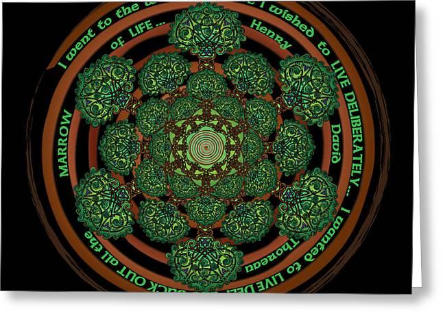 Henry David Thoreau Greeting Cards - Celtic Tree of Life Mandala Greeting Card by Celtic Artist Angela Dawn MacKay