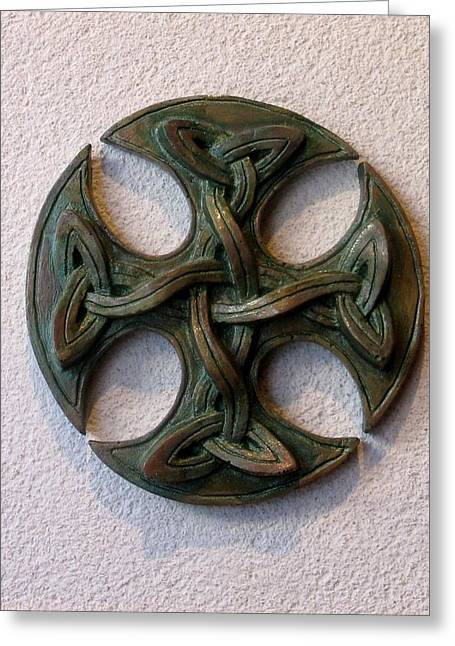 Low Relief Greeting Cards Greeting Cards - Celticross 1 Greeting Card by Flow Fitzgerald