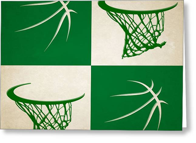Tickets Boston Greeting Cards - Celtics Ball And Hoop Greeting Card by Joe Hamilton