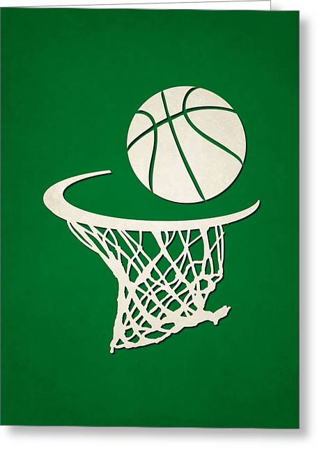 Tickets Boston Greeting Cards - Celtics Team Hoop2 Greeting Card by Joe Hamilton