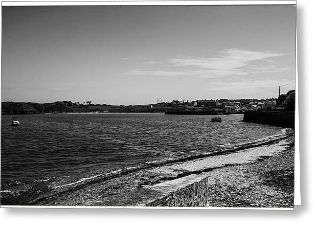 Small Fishing Village Greeting Cards - Cemaes Bay BW Greeting Card by Nomad Art And  Design