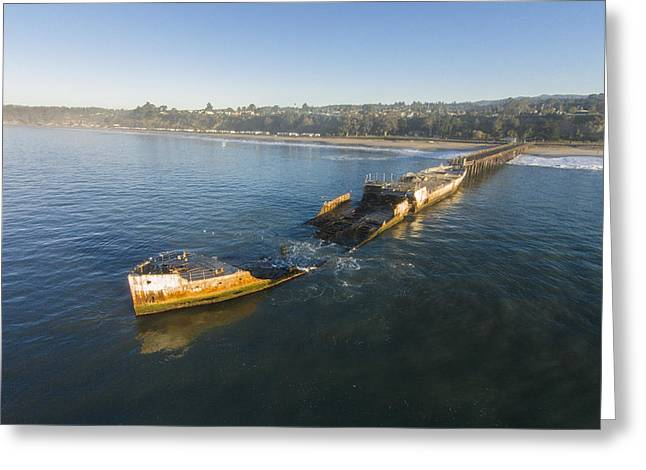 Santa Cruz Pier Greeting Cards - Cement Ship Sunrise Greeting Card by David Levy