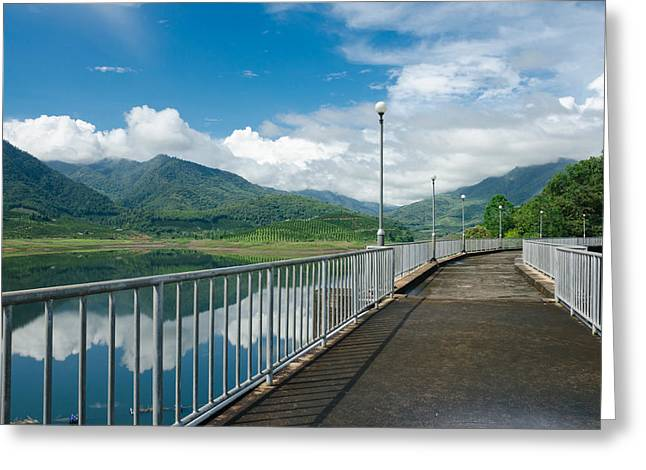 Generators Greeting Cards - Cement way on top of dam with nature view Greeting Card by Kedsirin Jaidee