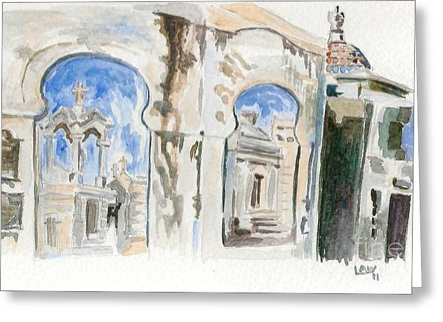Cemetary Paintings Greeting Cards - Cementario de la Recoleta Greeting Card by Lauren White