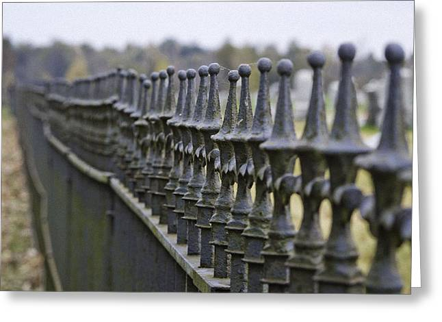 Antique Ironwork Greeting Cards - Cemetary Fence Greeting Card by Shirlee Mikel Vos