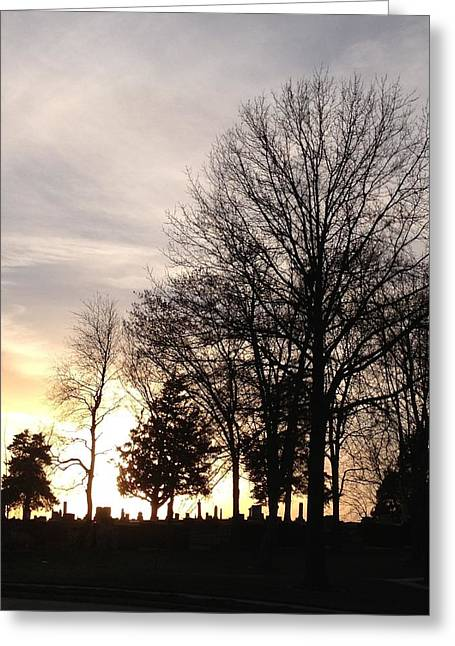 Jerry Browning Greeting Cards - Cemetery Sunset Greeting Card by Jerry Browning