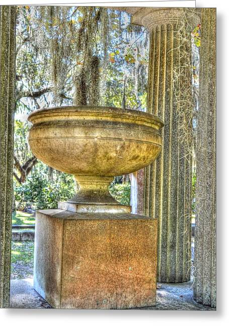 Moss Green Sculptures Greeting Cards - Cemetery urn Greeting Card by Linda Covino