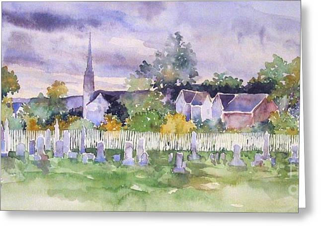 Cemetary Paintings Greeting Cards - Cemetary Watercolor Greeting Card by Sally Simon
